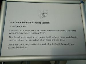Hannah Wynn (Mallard Days Education Services) leads a rock and mineral handling session at the National Glass Centre