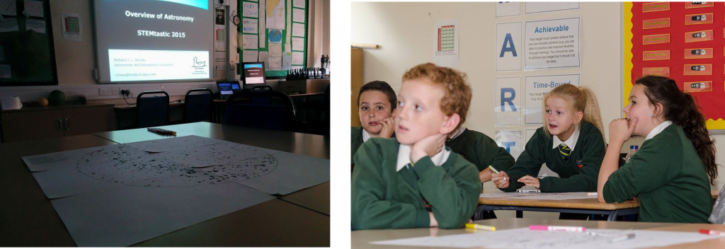 "Primary School pupils from Tyneside enjoy working in Richard's ""Introduction to Astronomy"" workshop as part of Tyne Metropolitan College's STEMtastic day"