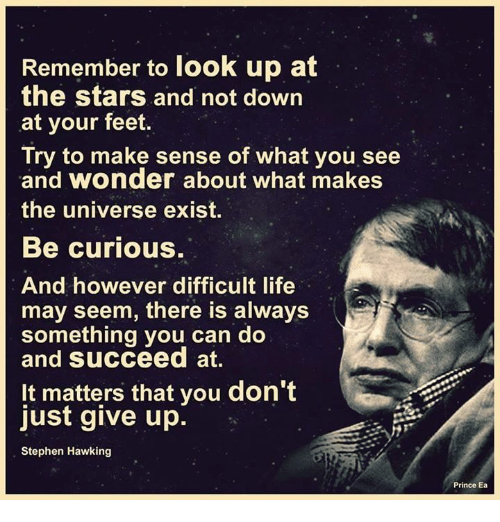 """Remember to look up at the stars and not down at your feet. Try to make sense of what you see and wonder about what makes the universe exist. Be curious. And however difficult life may seem, there is always something you can do and succeed at."""